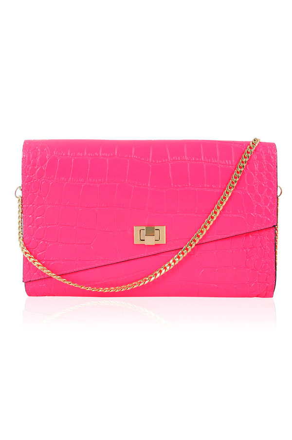 Accessories : 'Material Girl' Hot Pink Mock-Croc Clutch Bag