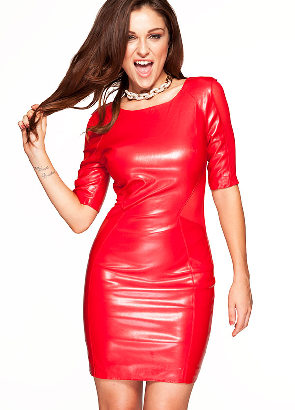 Red Leather Bodycon Dress