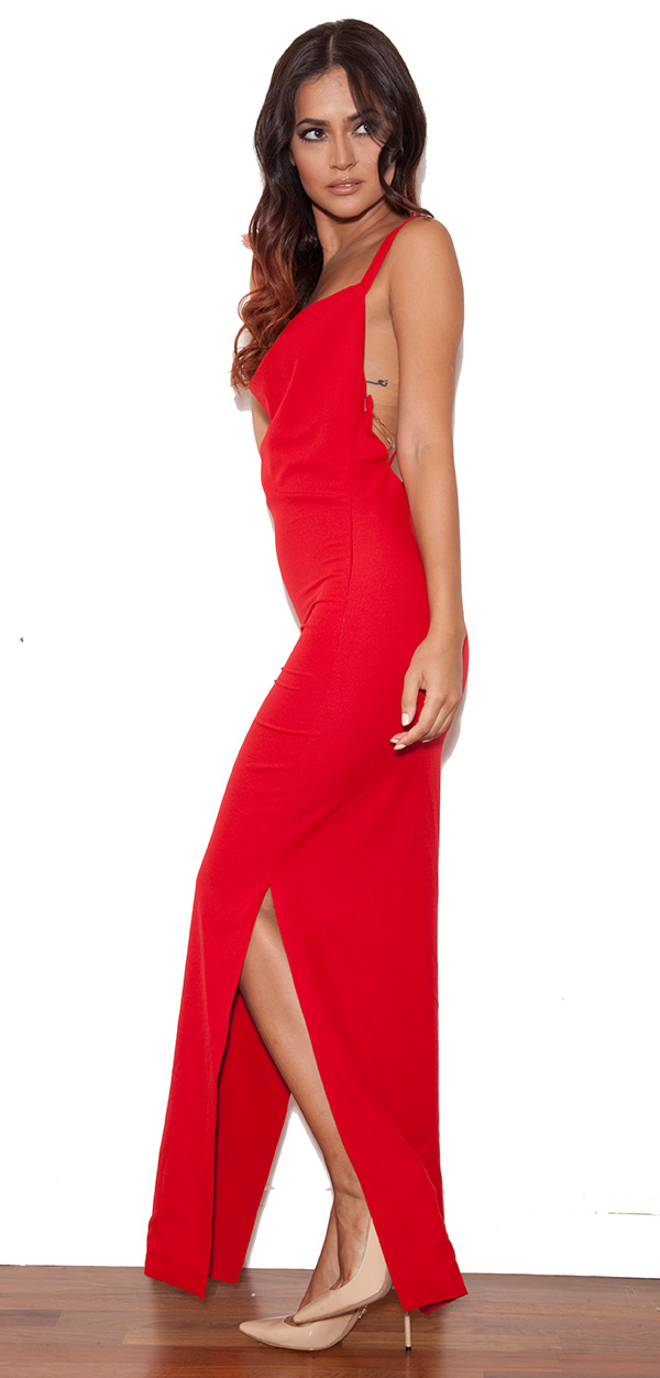Clothing Max Dresses Pabla Red Crepe Low Back Maxi Dress