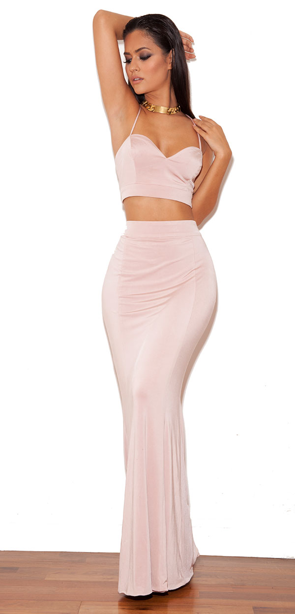 Clothing 2 pieces sirena blush pink silky jersey two piece