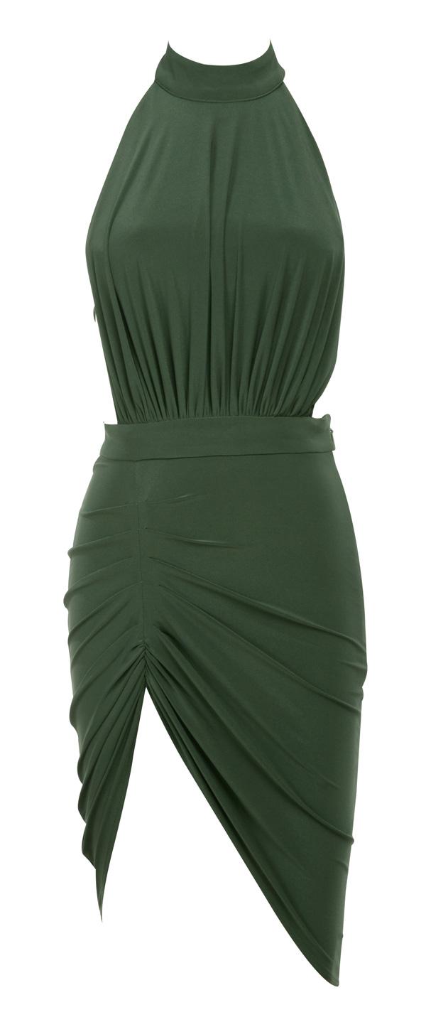 ... : Bodycon Dresses : 'Raquela' Khaki Backless Halter Draped Dress