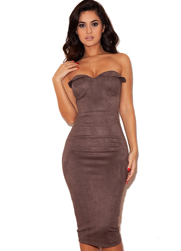 Clothing : Bodycon Dresses : 'Pia' Taupe Suedette ...
