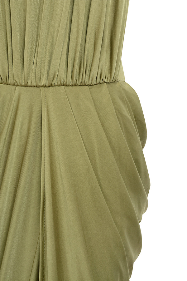 Clothing Max Dresses Vittoria Olive Draped Silky