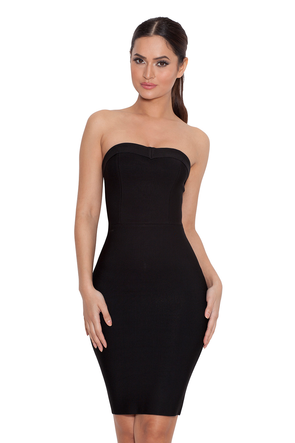 Clothing  Bandage Dresses  u0026#39;Vannau0026#39; Black Strapless Bandage Mini Dress