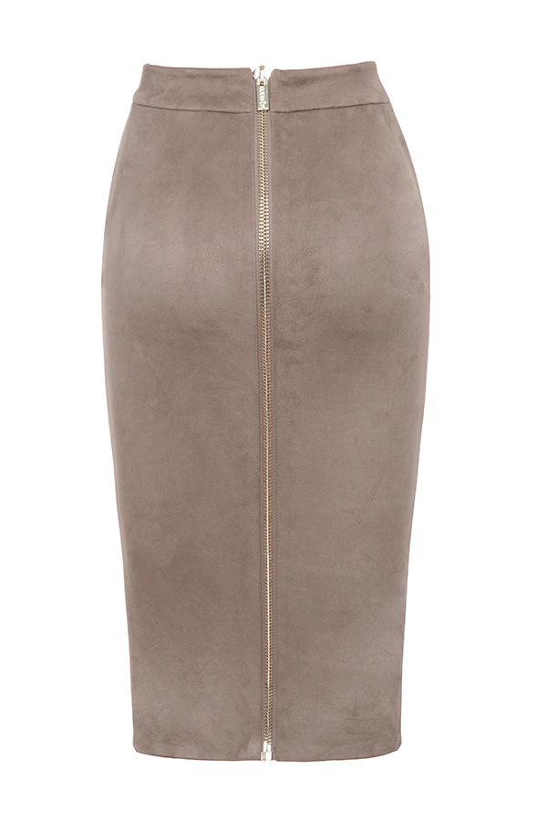 clothing skirts giuditta taupe suedette pencil skirt