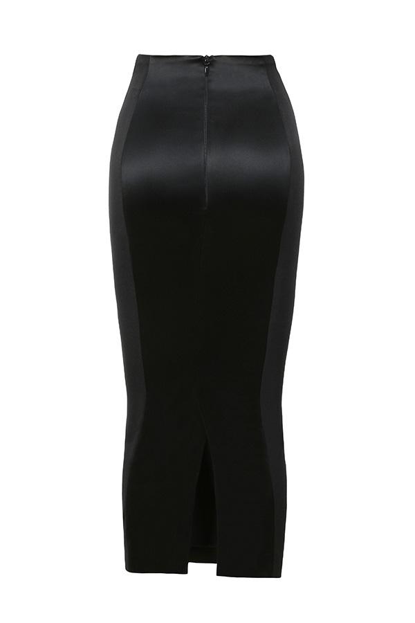 clothing skirts raissa black satin and stretch