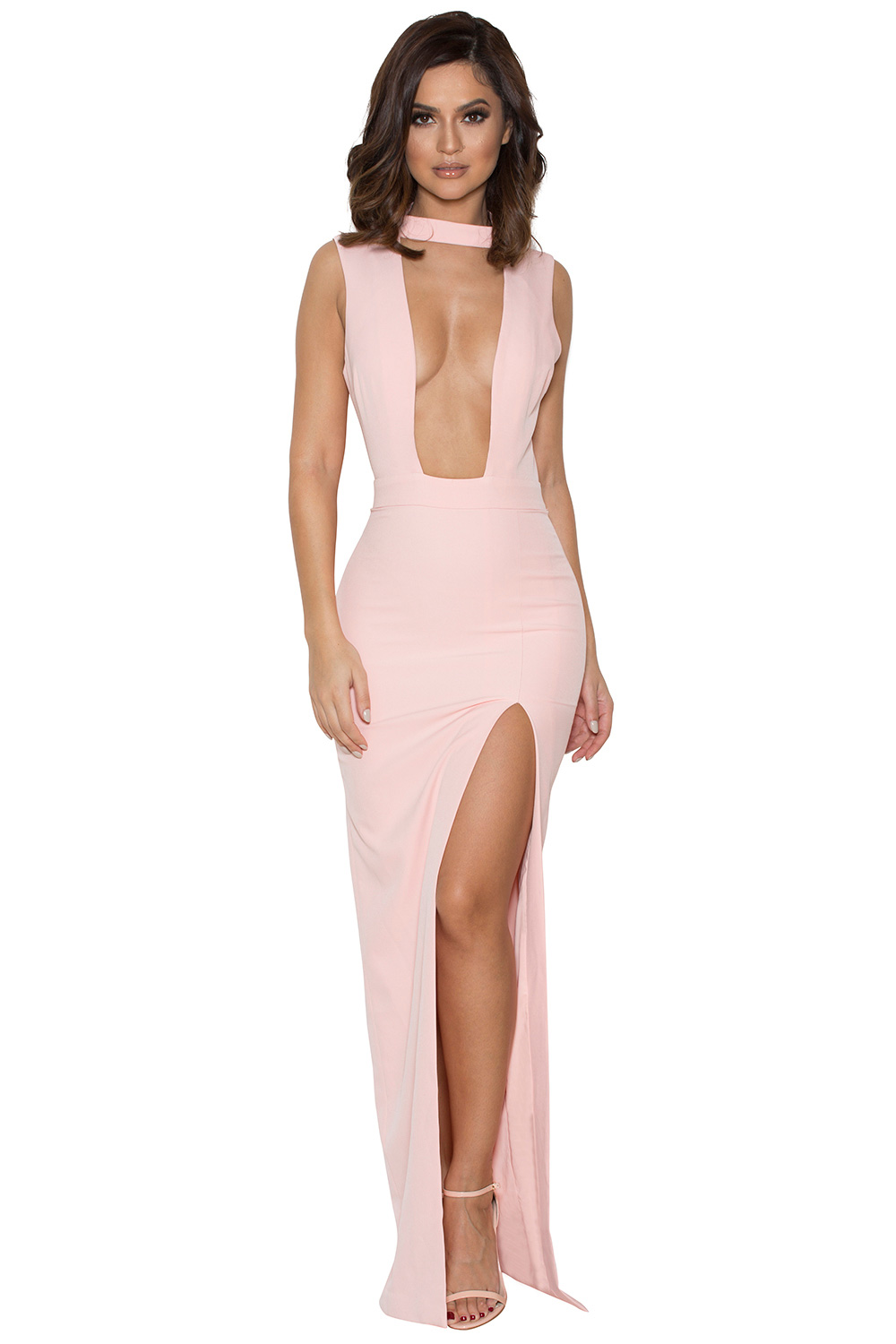 clothing max dresses 39 jehane 39 pale pink cut out maxi dress. Black Bedroom Furniture Sets. Home Design Ideas
